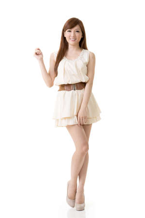 Asian beauty, full length portrait isolated on white background. photo