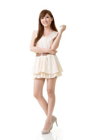 korean fashion: Asian beauty, full length portrait isolated on white background.