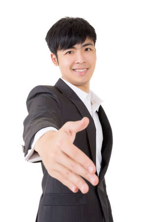 Businessman give you a gesture of handshake, closeup portrait on white background. photo