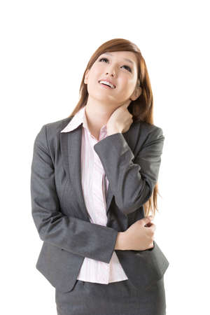 feels: Attractive young business woman of Asian, closeup portrait on white background. Stock Photo
