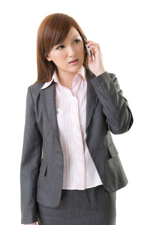 indignant: Angry businesswoman talk on phone, closeup portrait on white background. Stock Photo