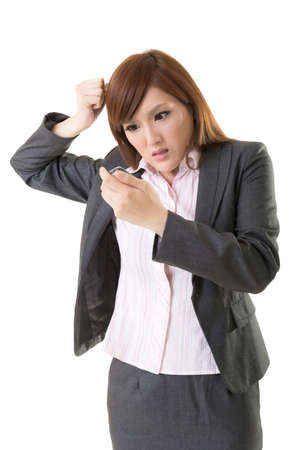 Angry businesswoman talk on phone, closeup portrait on white background. photo