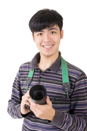 Young amateur photographer of Asian hold a camera, closeup portrait on white background. Stock Photo - 18787583