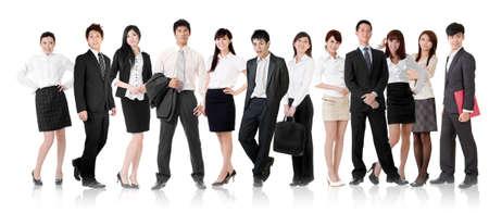 그룹에서 아시아 비즈니스 팀, 사업가 및 흰색 배경에 고립 된 서 서보고. 스톡 콘텐츠