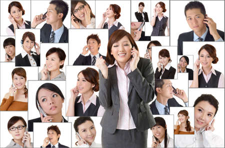 men talking: Business network, Asian business people use mobile phone to communicate to each other on white background. Stock Photo