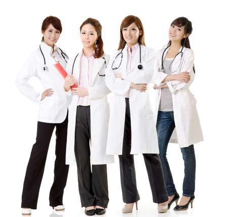 Asian doctor team, group of people about healthy and medical concepts isolated on white background. photo