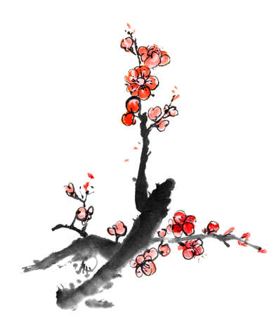 japanese script: Chinese painting of flowers, plum blossom, on white background.