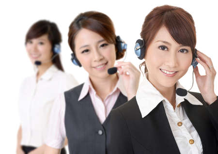 customer service woman: Attractive Asian business secretary team with smiling face, closeup portrait.