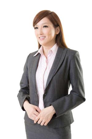 kindly: Confident Asian business woman, closeup portrait on white background.