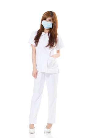 Asian health worker woman, full length portrait isolated on white background. photo