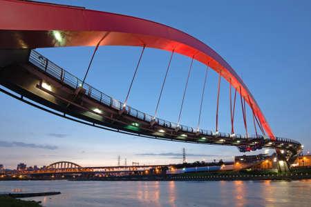 rainbow bridge: Landmark of Taipei, the famous rainbow bridge at songshan district, in the night, Taiwan, Asia