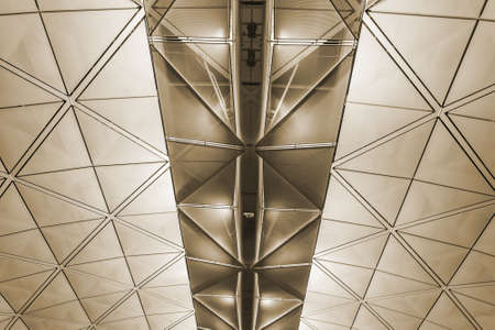 Modern architecture of ceiling in Hong Kong airport. photo