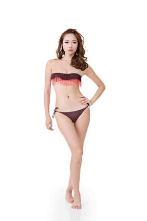 korean fashion: Summer bikini woman, full length portrait isolated on white background. Stock Photo