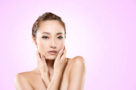 Asian beauty face, closeup portrait with clean and fresh elegant lady. photo