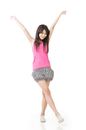 white singlet: Asian woman stretch arms and feel free. Full length portrait. Isolated on white background.