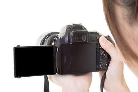 Asian woman take a photo with camera. Copy space. On the white background. photo