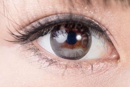 eyes makeup: Beautiful woman eyes with long eyelashes. Asian model. Studio shot.