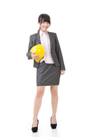 female architect: Engineer, entrepreneur or architect asian business woman. Studio shot, on the white background.
