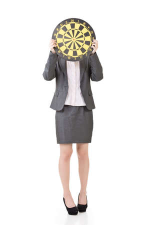 aspirations ideas: Pretty asian business woman with a target board. Isolated on the white background. Stock Photo