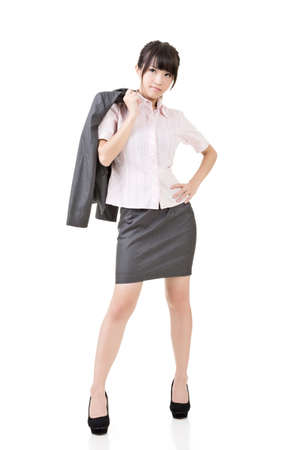 hesitations: Young business woman standing pensive, looking up for inspiration. Full length. Isolated on the white background.