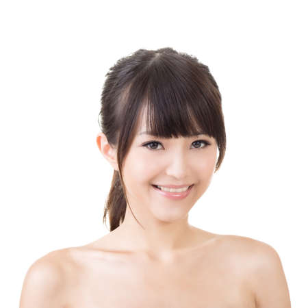 Asian woman beauty face closeup portrait. Isolated on the white background. photo