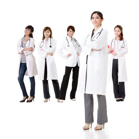 asian medical: Asian doctor team, group of people about healthy and medical concepts isolated on white background. Stock Photo