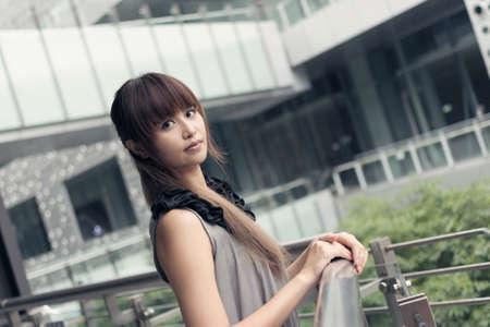 alluring: Attractive Asian woman in modern city, Taipei, Taiwan, Asia