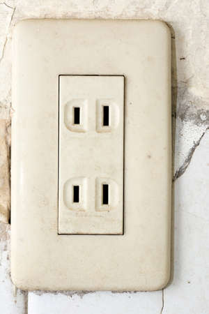 outlet: Old socket, electrical outlet. Close-up