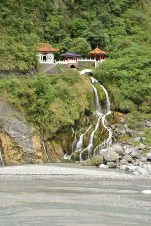 Changchun temple in Taroko National Park, Taiwan, Asia. photo