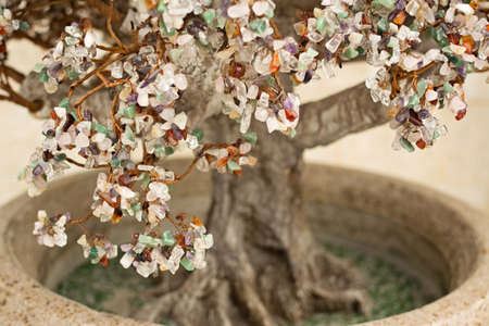 Close-up of christmas tree made from jewelry stones photo