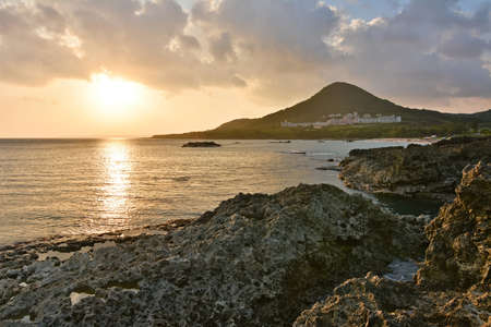 Sunset. Coral coast line at Kenting National Park, Taiwan, Asia. photo