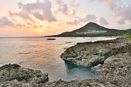 Sunset. Coral coast line at Kenting National Park, Taiwan, Asia. photo