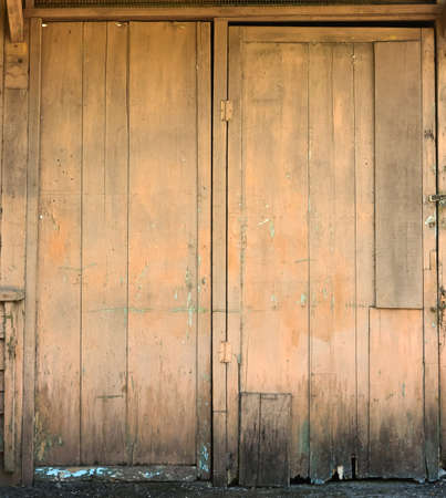 Old wooden closed door photo
