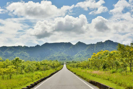 Rural landscape with road in daytime, Hualien, Taiwan, Asia. Stock Photo