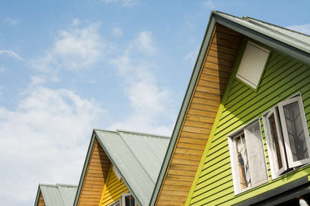 Roofs of houses in row