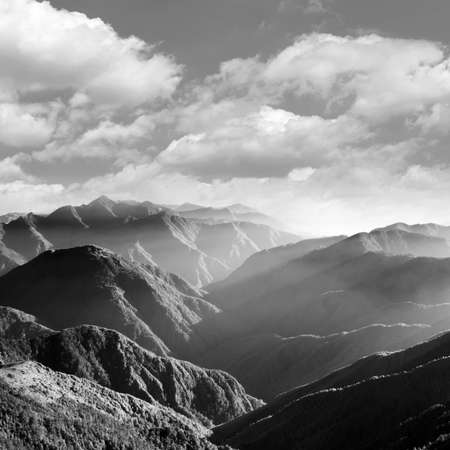 Mountain scenery in black and white, shot at Yushan National Park, Taiwan, Asia.