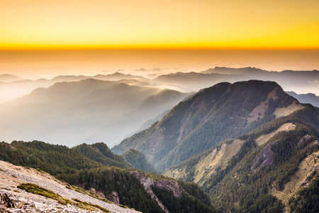 taiwan scenery: Sunset scenery with the famous Yushan West Peak, Taiwan, Asia. Stock Photo