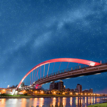 Night scene of bridge under stars in Taipei, Taiwan, Asia. Photo manipulation. photo