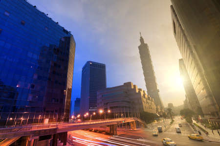 taipei: City day and night, urban scenery with modern skyscrapers in Taipei, Taiwan, Asia.