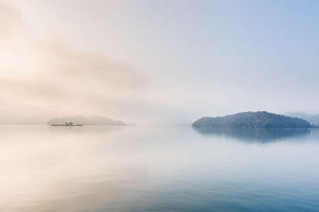 dream lake: Landscape of famous Sun Moon Lake in the morning with mist in Taiwan, Asia.