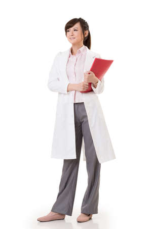 asian doctor: Asian doctor woman, full length portrait isolated on white background.