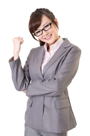 exciting: Exciting Asian business young woman, closeup portrait isolated on white background.
