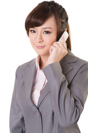 business contact: Asian business woman use cellphone, closeup portrait isolated on white background.