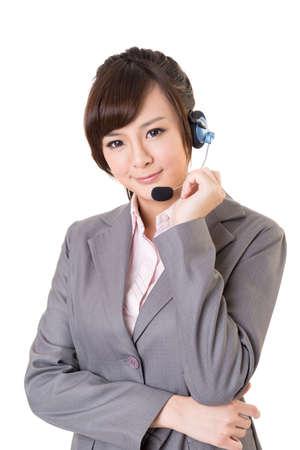 business support: Aziatische secretaris, close-up portret op witte achtergrond.