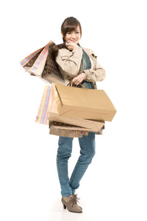 asian shopper: Asian shopping woman holding bags, full length portrait isolated on white background.