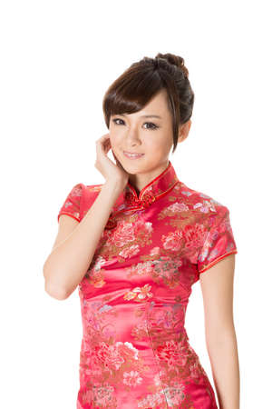 chinese woman: Chinese woman dress traditional cheongsam on white background.