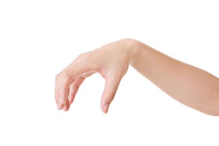 pick up: Hand gesture, pick up, isolated on white.