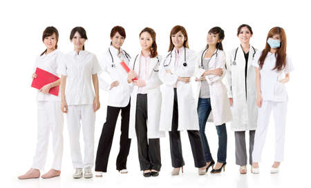 care about the health: Asian health care team, group of people about healthy and medical concepts isolated on white background.