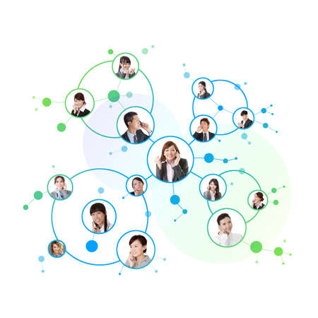 phone conversation: Business network, Asian business people use mobile phone to communicate to each other on white background. Stock Photo