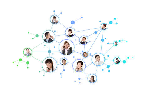 Business network, Asian business people use mobile phones to communicate to each other on white background. photo
